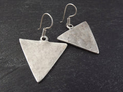 Triangle Shaped Tribal Silver Earrings - Authentic Turkish Style