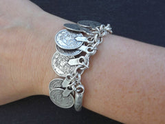 Silver Coin Chain Bar Bracelet - Tribal Ethnic Statement Bracelet - Authentic Turkish Style