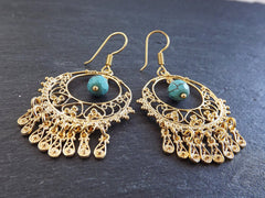 Filigree Chandelier Statement Tribal Ethnic Gold Earrings - Facet Turquiose Cut Drop Charms - Authentic Turkish Style