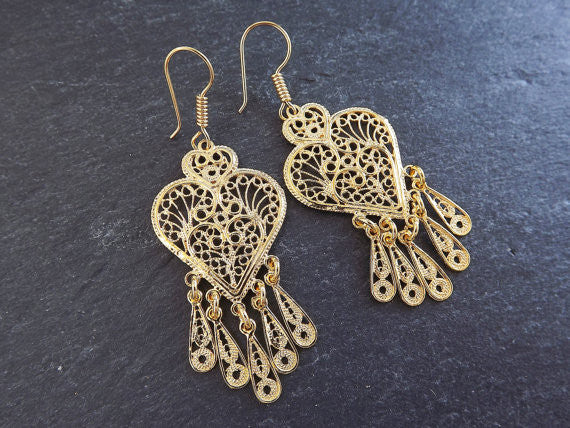 Heart Shaped Telkari Dangly Gold Ethnic Boho Earrings - Authentic Turkish Style