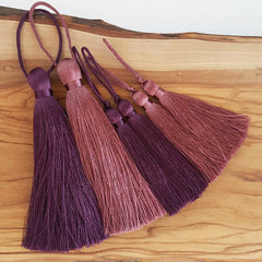 Extra Large Thick Dusty Mauve Silk Thread Tassels - 4.4 inches - 113mm - 1 pc