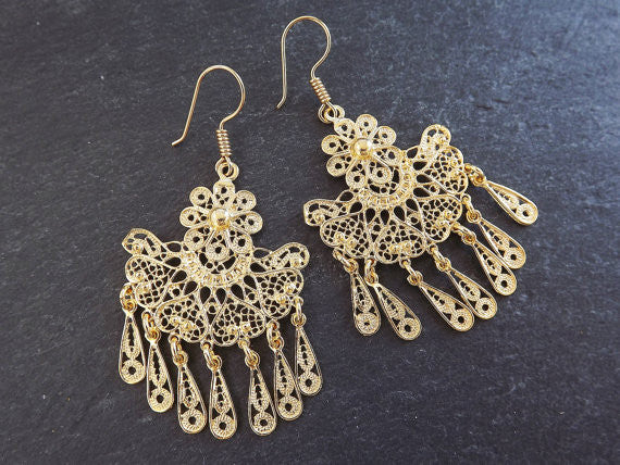 Fan Shaped Telkari Dangly Gold Ethnic Boho Earrings - Authentic Turkish Style