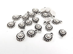 20 Tiny Rustic Cast Round Tribal Charms - Matte Antique Silver Plated