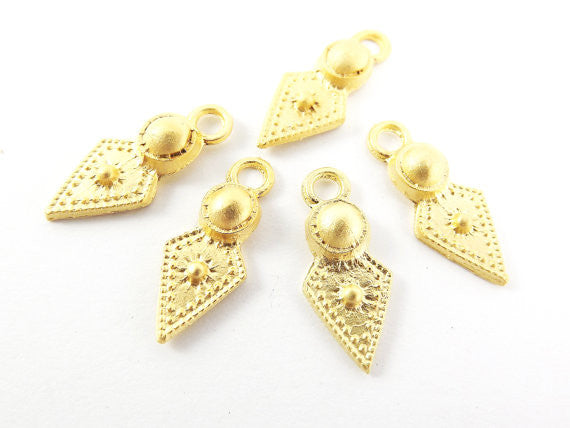 5 Rustic Cast Spear Tribal Charms - 22k Matte Gold Plated