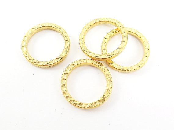 22mm Textured Round Ring Closed Loop Pendant Connector - 22k Matte Gold Plated - 4 PC