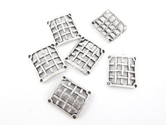 6 Curved Square Weave Connectors - Matte Antique Silver Plated