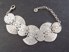 Tribal Daisy Chain Silver Statement Bracelet - Authentic Turkish Style