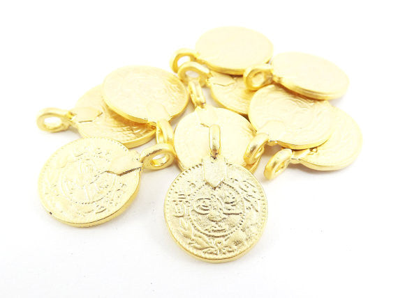 10 Large Rustic Round Coin Charms - TYPE 2 Side Facing Loop- 22k Matte Gold Plated Brass