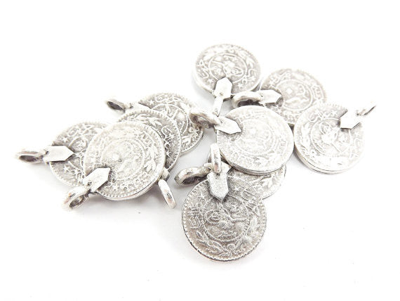 10 Large Rustic Round Coin Charms - TYPE 2 Side Facing Loop - Matte Antique Silver Plated Brass