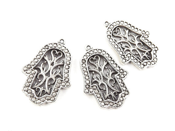 3 Flourish Fretwork Hand of Fatima Hamsa Pendant Charms - Matte Antique Silver Plated