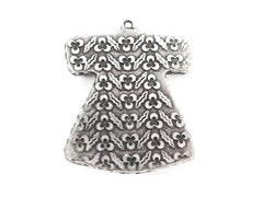 Cintemani Detailed Ottoman Caftan Pendant Tray Cabochon Setting - Flat Edge - Matte Anitque Silver Plated