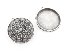 Round Ottoman Inspired Pendant Tray Cabochon Setting - Flat Edge - Matte Antique Silver Plated - 1pc
