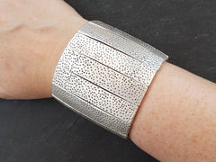 Gamze Stretchy Silver Statement Bracelet - Authentic Turkish Style