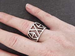 Geo Adjustable Silver Ethnic Tribal Boho Geometric Statement Ring - Authentic Turkish Style