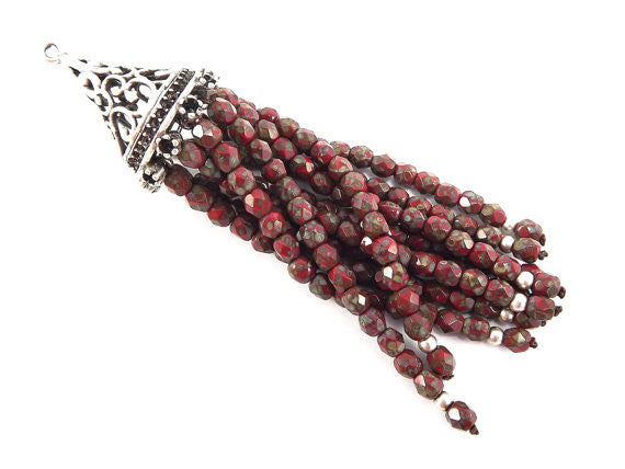 Long Red Picasso Beaded Tassel with Antique Matte Silver Plated Filigree cap - Czech Fire-Polished Faceted Glass - 1pc