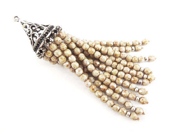 Long Creamy Beige Picasso Beaded Tassel with Antique Matte Silver Plated Filigree cap - Czech Fire-Polished Faceted Glass - 1pc