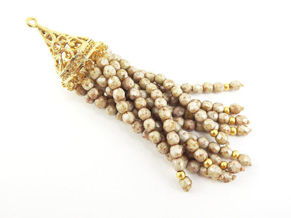 Long Creamy Beige Picasso Beaded Tassel with 22k Matte Gold Plated Filigree cap - Czech Fire-Polished Faceted Glass - 1pc