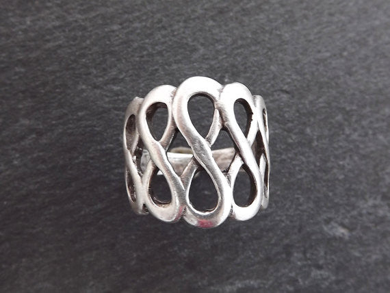 Dolas Adjustable Silver Ethnic Tribal Boho Geometric Statement Ring - Authentic Turkish Style