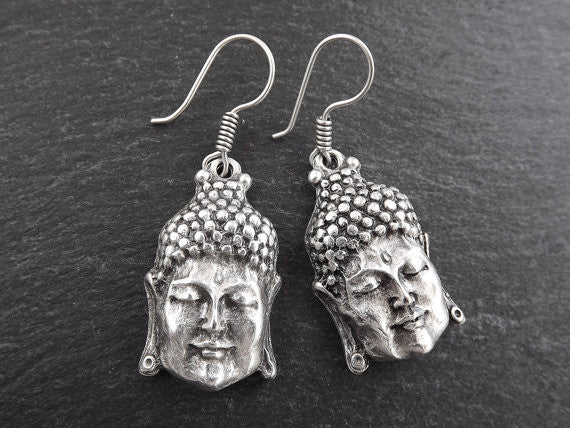 Buddha Ethnic Silver Earrings - Buddhist Yoga Namaste Jewelry