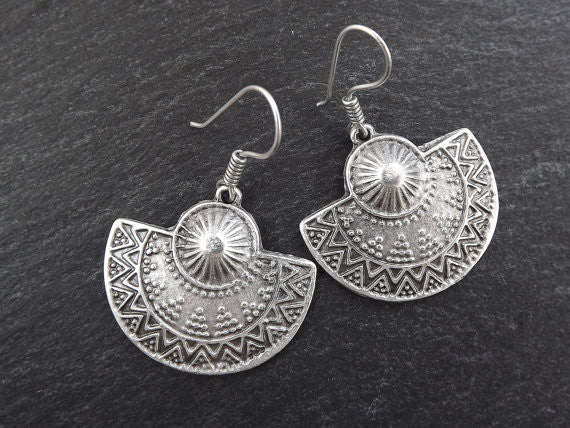 Ethnic Semi Circle Tribal Silver Earrings - Authentic Turkish Style