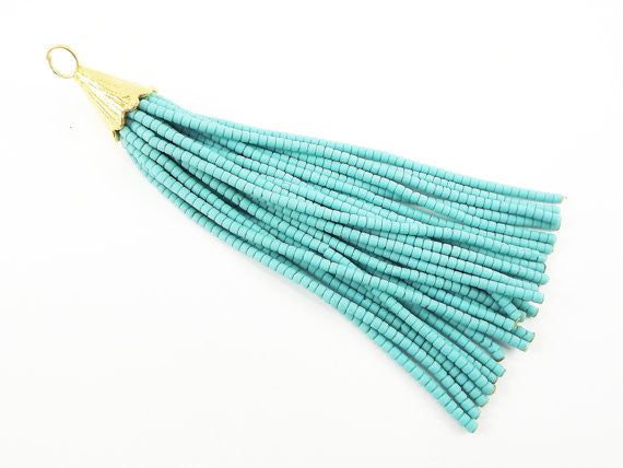 Plain Turquoise Afghan Tibetan Heishi Tube Beaded Tassel - Handmade - Textured 22k Matte Gold Plated Cap - 92mm = 3.62inches -1PC