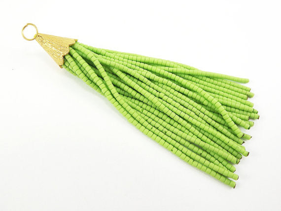 Macaw Green Afghan Tibetan Heishi Tube Beaded Tassel - Handmade - Textured 22k Matte Gold Plated Cap - 92mm = 3.62inches -1PC