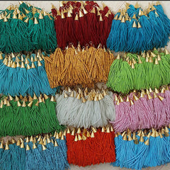 Transparent Turquoise Afghan Tibetan Chunky Heishi Tube Beaded Tassel - Handmade - Textured 22k Matte Gold Plated Cap - 92mm = 3.62inches