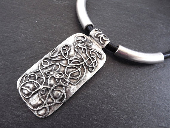Scribble Pattern Ethnic Inspirded Silver Statement Necklace - Authentic Turkish Style