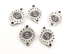 5 Engraved Evil Eye Pendant Charm Connectors - Matte Antique Silver Plated