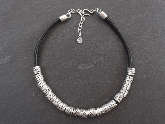 Rustic Slider Bead Silver & Leather Statement Necklace - Authentic Turkish Style