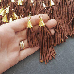 Brown Afghan Tibetan Heishi Tube Beaded Tassel - Handmade - Textured 22k Matte Gold Plated Cap - 92mm = 3.62inches -1PC