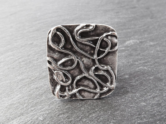 Scribble Pattern Adjustable Silver Ethnic Tribal Boho Statement Ring