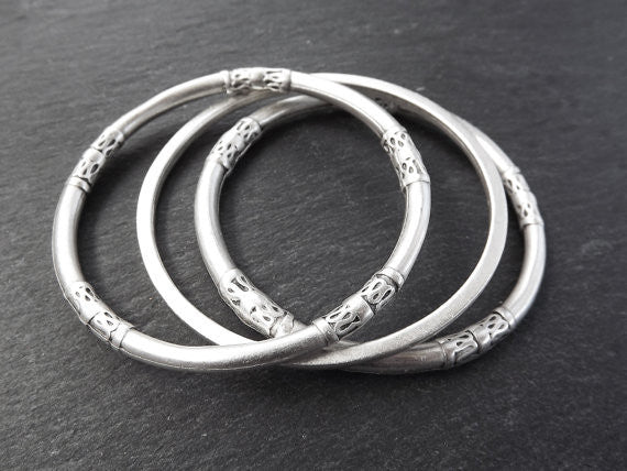 Three Simple Slim Stacking Bangle Set 2 - Ethnic Tribal Authentic Turkish Style