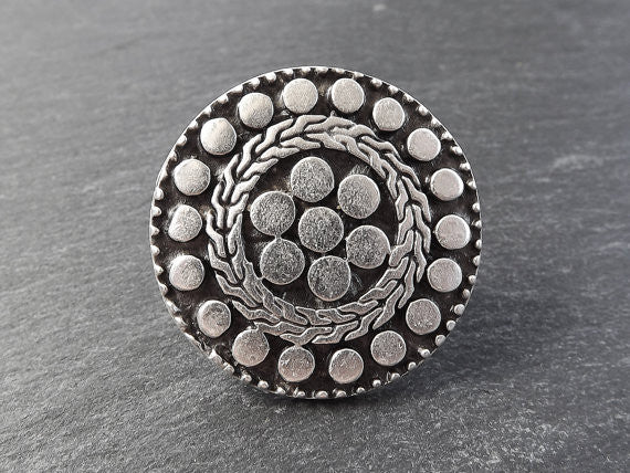 Going Dotty Round Adjustable Silver Ethnic Tribal Boho Statement Ring