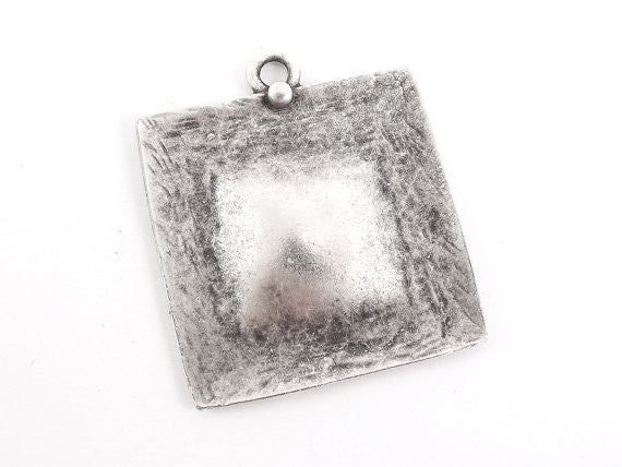 Large Textured Square Dome Pendant - Matte Antique Silver Plated - 1PC