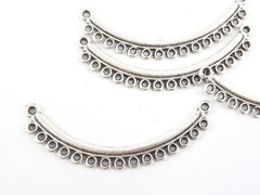 Looped Curve Bar Connector - Matte Silver Plated -4pc