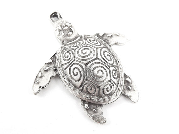 Rustic Turtle Pendant - Matte Antique Silver Plated