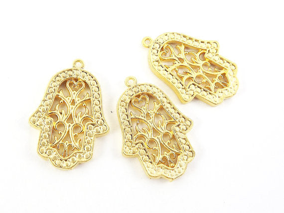 3 Flourish Fretwork Hand of Fatima Hamsa Pendant Charms - 22k Matte Gold Plated