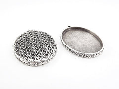 Oval Curl Detail Pendant Tray Cabochon Setting - Flat Edge - Matte Antique Silver Plated - 1pc