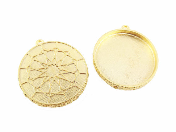 Round Ottoman Inspired Pendant Tray Cabochon Setting - Flat Edge - 22k Matte Gold Plated - 1pc