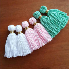 Long Baby Pink Handmade Wool Thread Tassels - 3 inches - 75mm - 2 pc