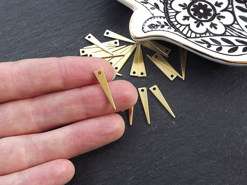 2 Holes Triangle Charms Brass Findings Triangle Earring 42x8mm Raw Brass Triangle Blanks Wholesale RB066 Triangle Pendant