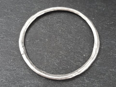Extra Large Organic Round Ring Closed Loop Pendant Connector - Matte Antique Silver Plated - 1 PC