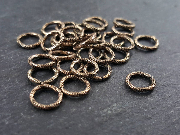 8mm Twisted Etched Jump Rings Antique Bronze Plated - 30pcs