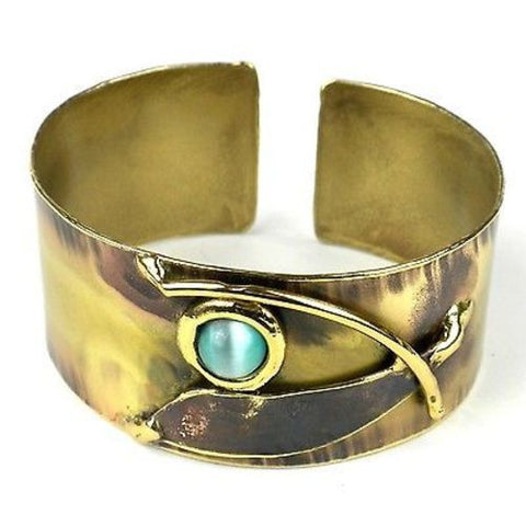 Blade & Aqua Brass Cuff Handmade and Fair Trade