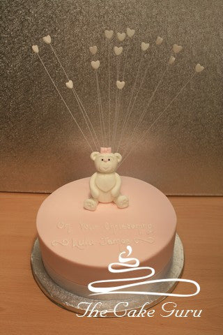 White and Pink Teddy Cake