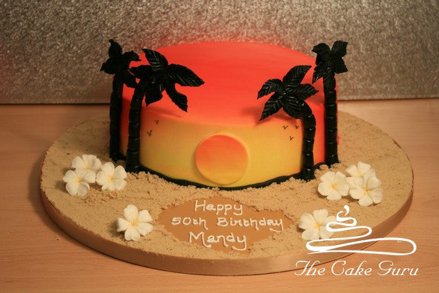 Sunset Beach Birthday Cake