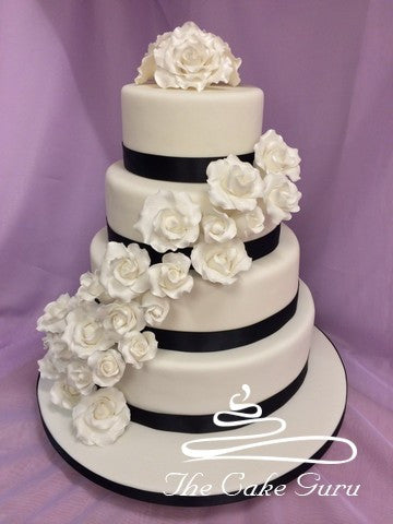 Roses Cascade Wedding Cake