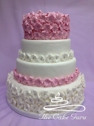 Pastel Blossoms Wedding Cake
