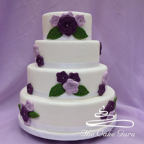 Crochet Flower Effect Wedding cake